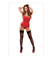 Satin Treasures Corset Y Tanga Rojo