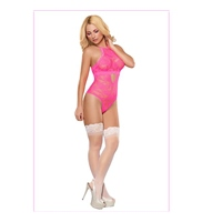 Body Keyhole Teddy Neon Lace Pink