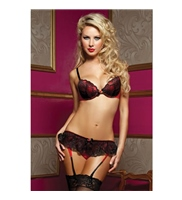 Conjunto Naugthy Little Secret Bra, garter &Thong Negro